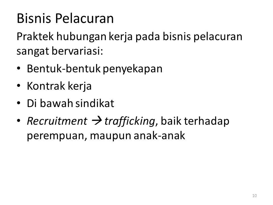 Bisnis Pelacuran Praktek hubungan kerja pada bisnis pelacuran sangat bervariasi: Bentuk-bentuk penyekapan Kontrak kerja Di bawah sindikat Recruitment  trafficking, baik terhadap perempuan, maupun anak-anak 10