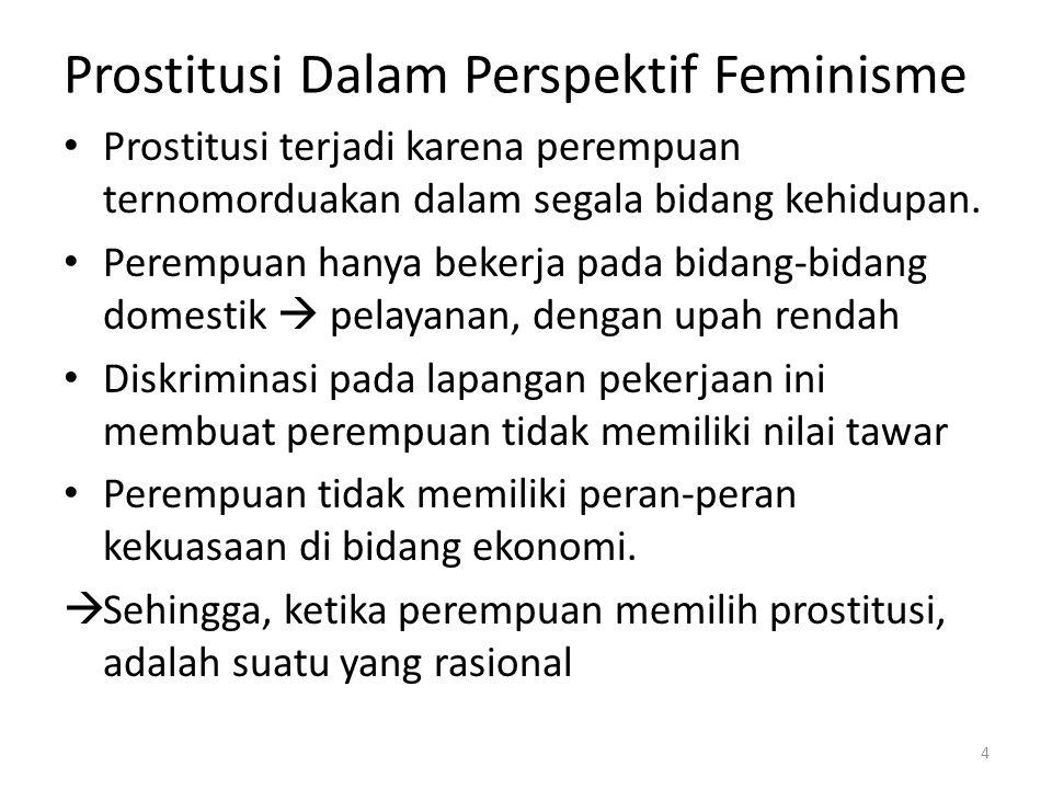 Prostitusi Dalam Perspektif Feminisme Prostitusi terjadi karena perempuan ternomorduakan dalam segala bidang kehidupan.