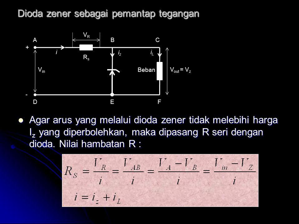 Dioda zener sebagai pemantap tegangan Agar arus yang melalui dioda zener tidak melebihi harga I z yang diperbolehkan, maka dipasang R seri dengan diod