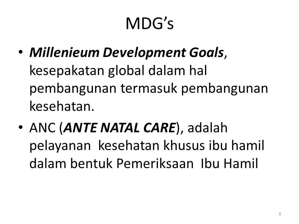 Millenieum Development Goals, kesepakatan global dalam hal pembangunan termasuk pembangunan kesehatan.