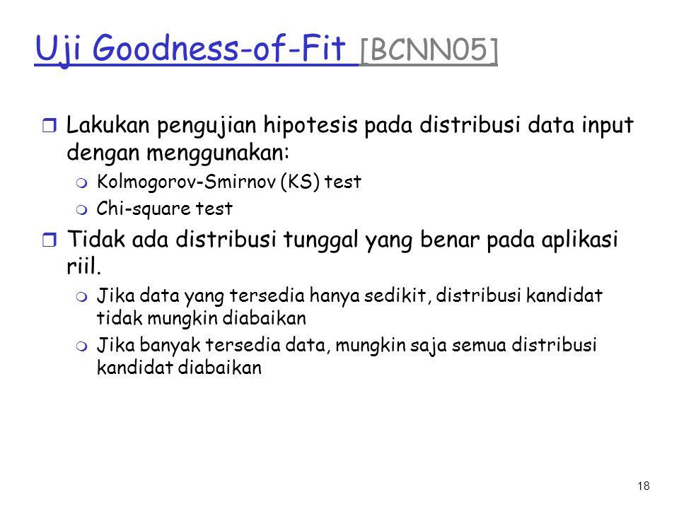 18 Uji Goodness-of-Fit [BCNN05] r Lakukan pengujian hipotesis pada distribusi data input dengan menggunakan: m Kolmogorov-Smirnov (KS) test m Chi-squa