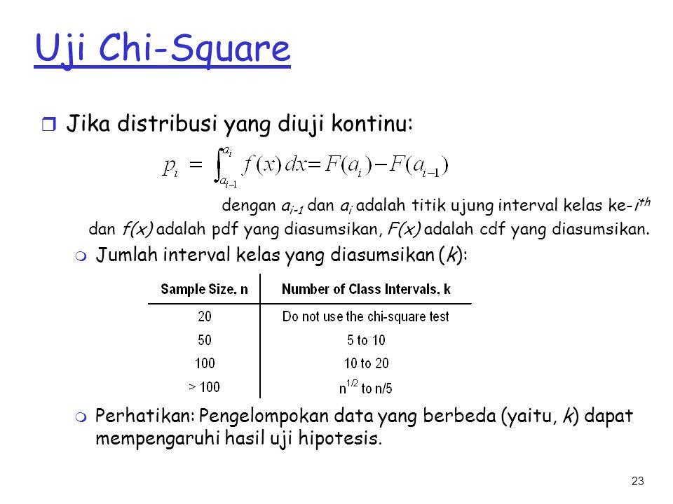 23 Uji Chi-Square r Jika distribusi yang diuji kontinu: dengan a i-1 dan a i adalah titik ujung interval kelas ke-i th dan f(x) adalah pdf yang diasum