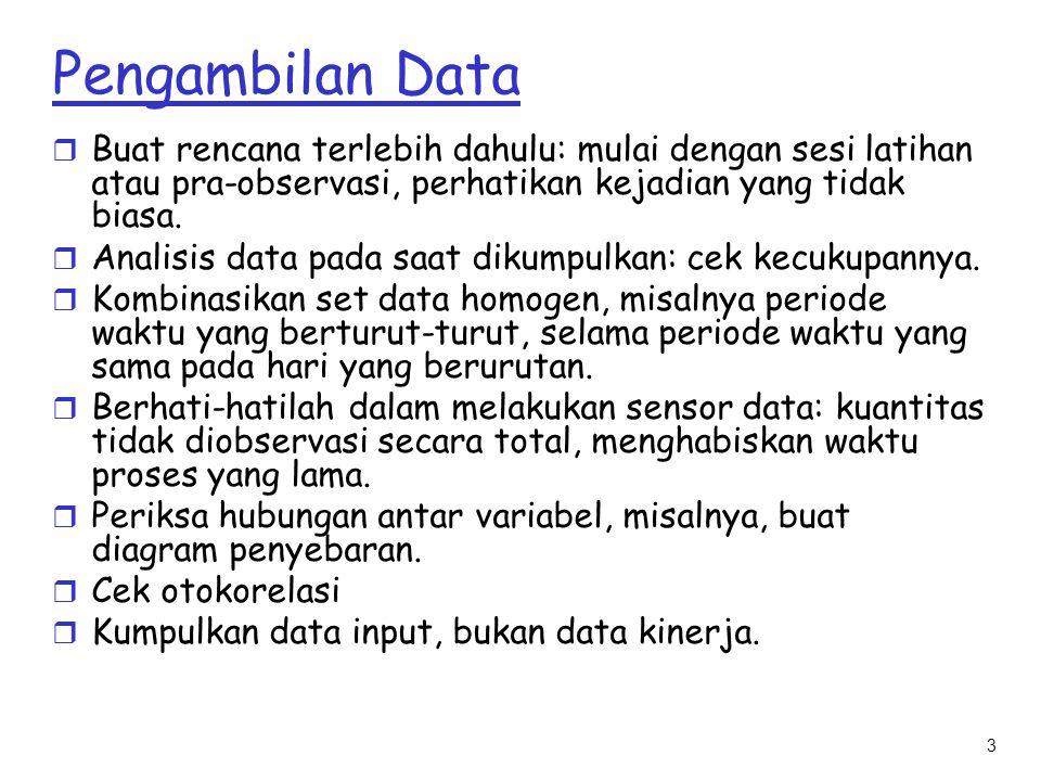 3 Pengambilan Data r Buat rencana terlebih dahulu: mulai dengan sesi latihan atau pra-observasi, perhatikan kejadian yang tidak biasa. r Analisis data