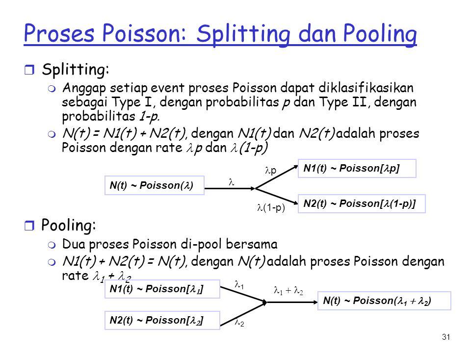 31 r Splitting: m Anggap setiap event proses Poisson dapat diklasifikasikan sebagai Type I, dengan probabilitas p dan Type II, dengan probabilitas 1-p