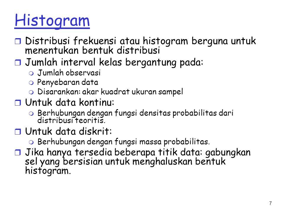 7 Histogram r Distribusi frekuensi atau histogram berguna untuk menentukan bentuk distribusi r Jumlah interval kelas bergantung pada: m Jumlah observa