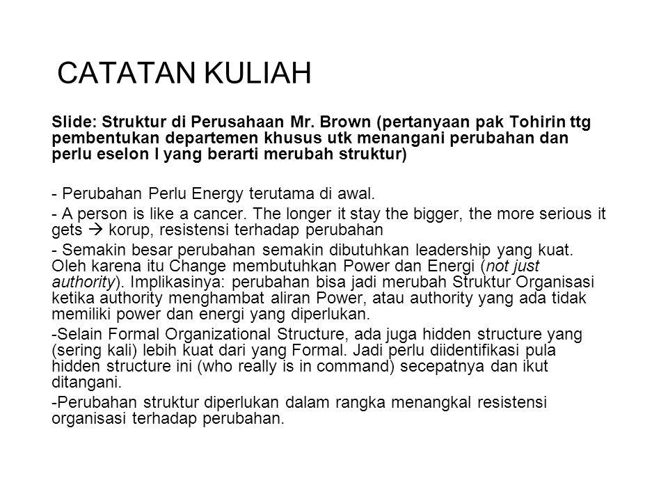 CATATAN KULIAH Slide: Struktur di Perusahaan Mr. Brown (pertanyaan pak Tohirin ttg pembentukan departemen khusus utk menangani perubahan dan perlu ese
