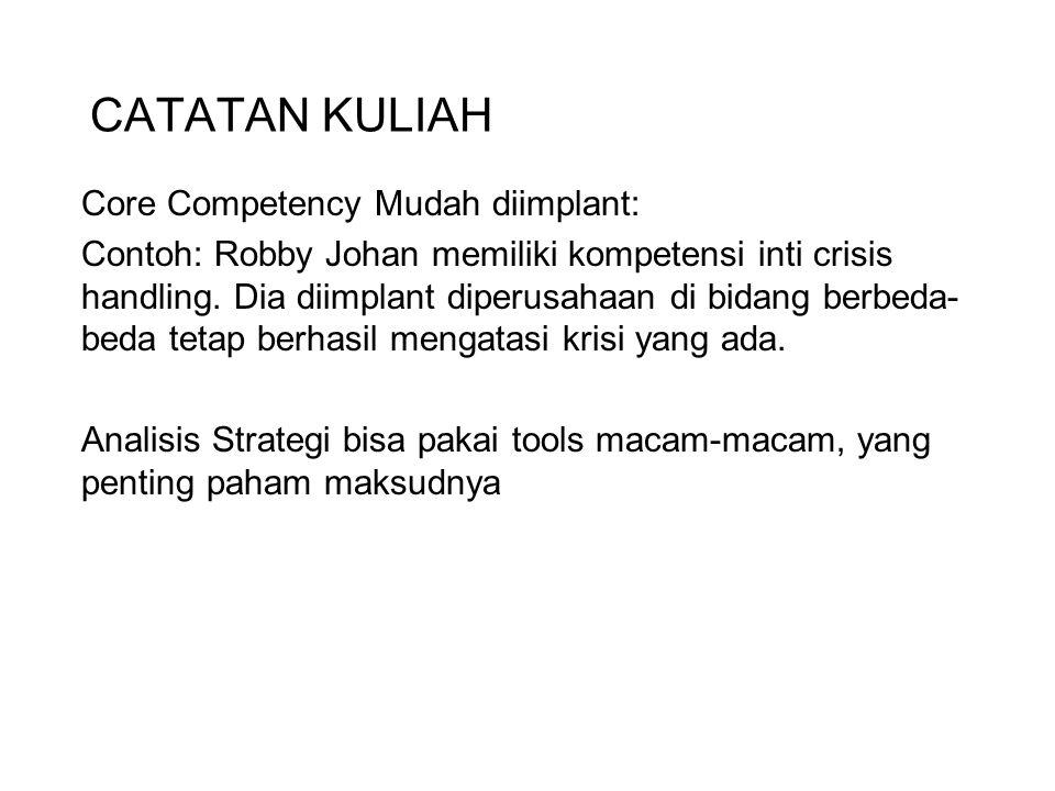CATATAN KULIAH Core Competency Mudah diimplant: Contoh: Robby Johan memiliki kompetensi inti crisis handling. Dia diimplant diperusahaan di bidang ber