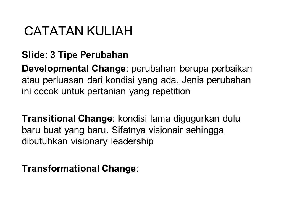 CATATAN KULIAH Slide: 3 Tipe Perubahan Developmental Change: perubahan berupa perbaikan atau perluasan dari kondisi yang ada. Jenis perubahan ini coco