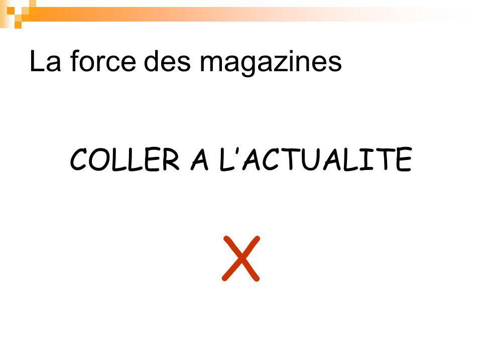 La force des magazines COLLER A L'ACTUALITE X