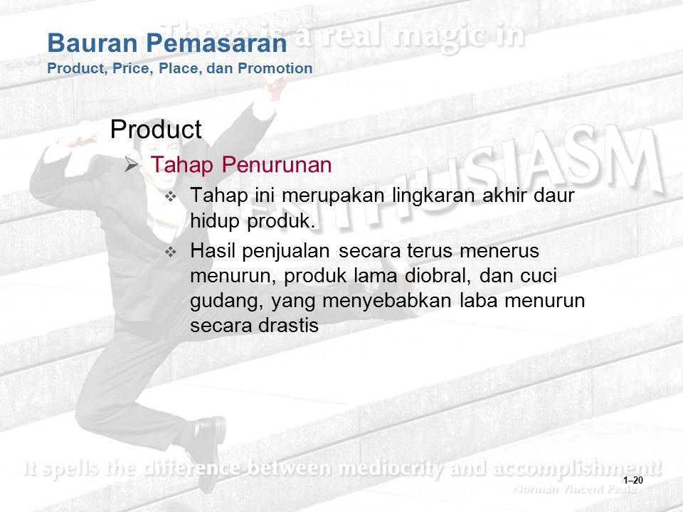 1–20 Bauran Pemasaran Product, Price, Place, dan Promotion Product  Tahap Penurunan  Tahap ini merupakan lingkaran akhir daur hidup produk.  Hasil