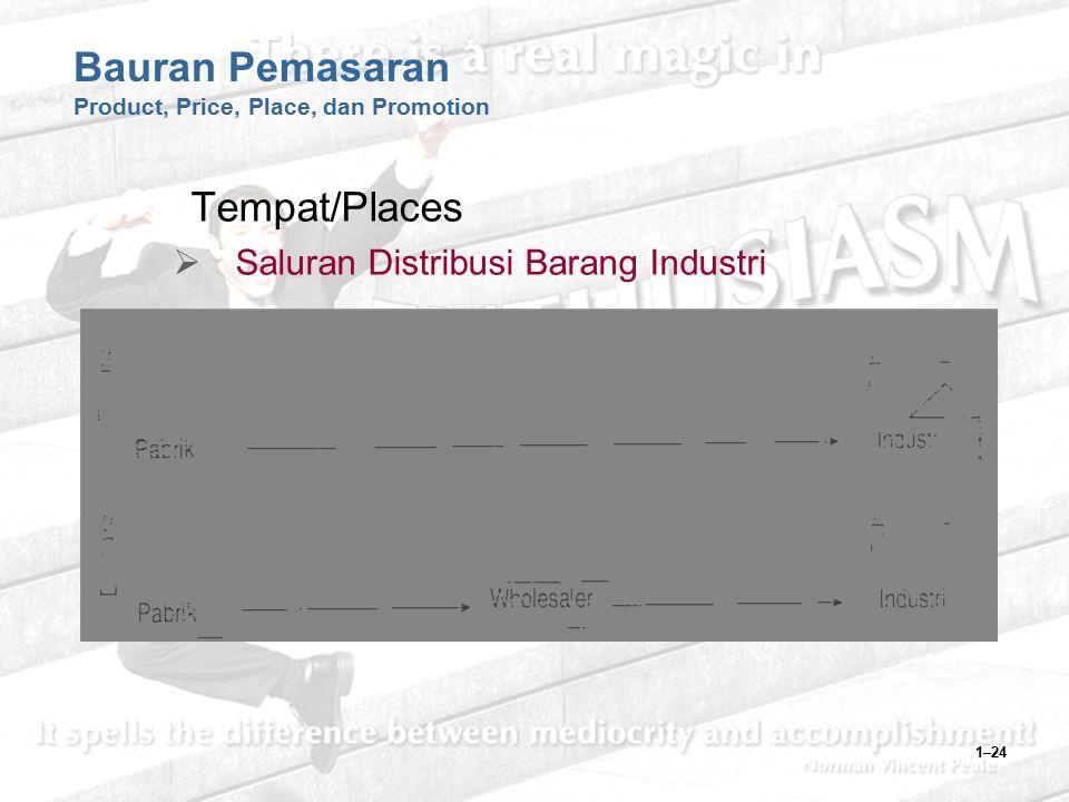 1–24 Bauran Pemasaran Product, Price, Place, dan Promotion Tempat/Places  Saluran Distribusi Barang Industri