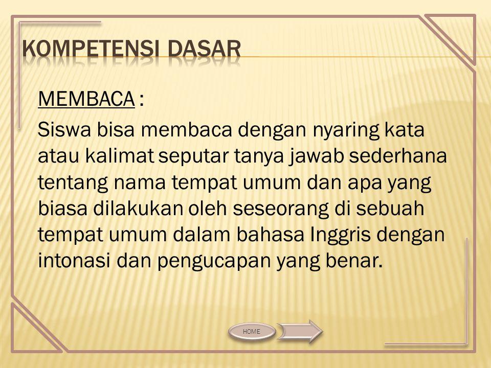 MENULIS : Siswa bisa menuliskan dengan benar kata atau kalimat sehubungan dengan nama tempat umum dan apa yang biasa dilakukan oleh seseorang di sebuah tempat umum.