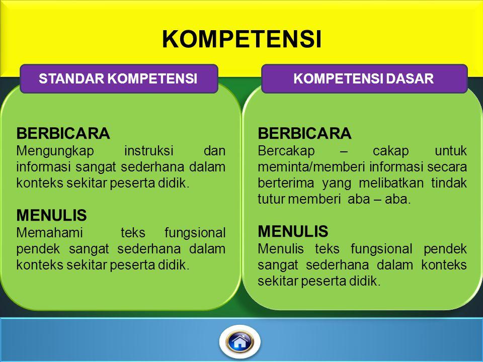 KOMPETENSI BERBICARA Mengungkap instruksi dan informasi sangat sederhana dalam konteks sekitar peserta didik.