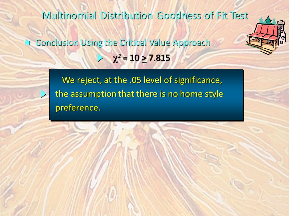 n Conclusion Using the Critical Value Approach Multinomial Distribution Goodness of Fit Test We reject, at the.05 level of significance, We reject, at the.05 level of significance, the assumption that there is no home style preference.