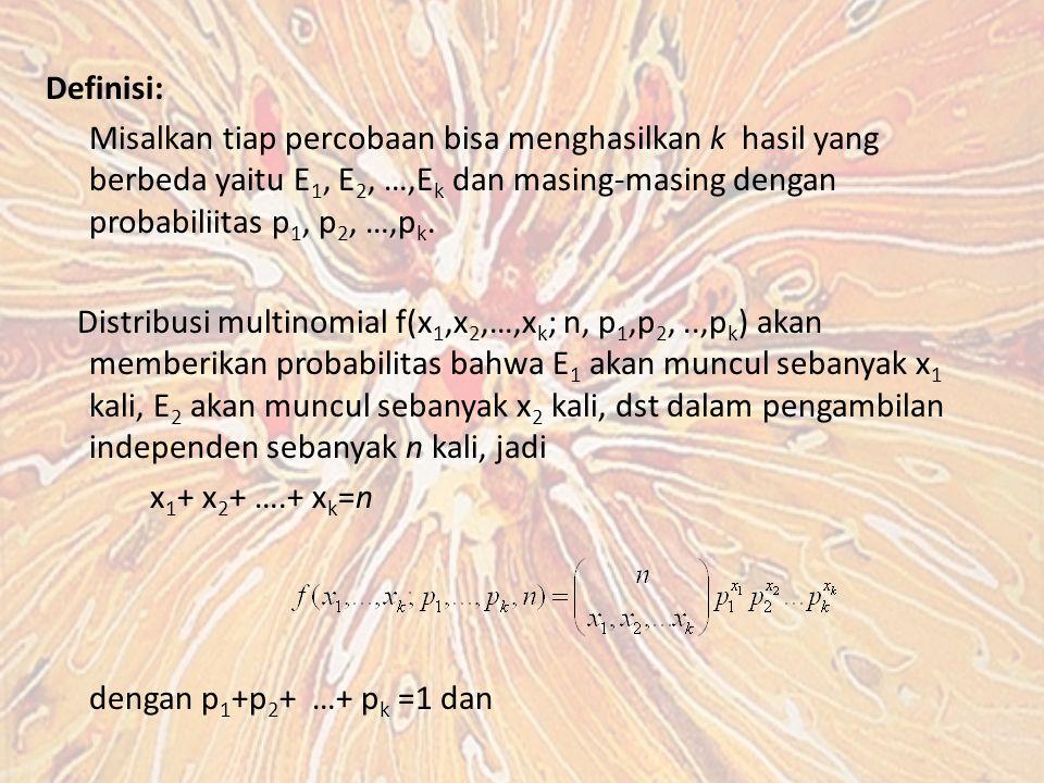 Definisi: Misalkan tiap percobaan bisa menghasilkan k hasil yang berbeda yaitu E 1, E 2, …,E k dan masing-masing dengan probabiliitas p 1, p 2, …,p k.