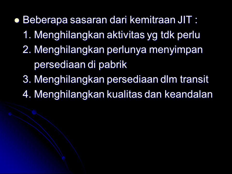 Beberapa sasaran dari kemitraan JIT : Beberapa sasaran dari kemitraan JIT : 1.