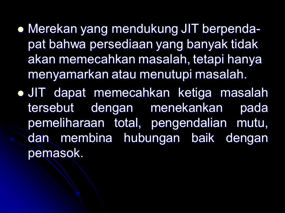 Merekan yang mendukung JIT berpenda- pat bahwa persediaan yang banyak tidak akan memecahkan masalah, tetapi hanya menyamarkan atau menutupi masalah. M