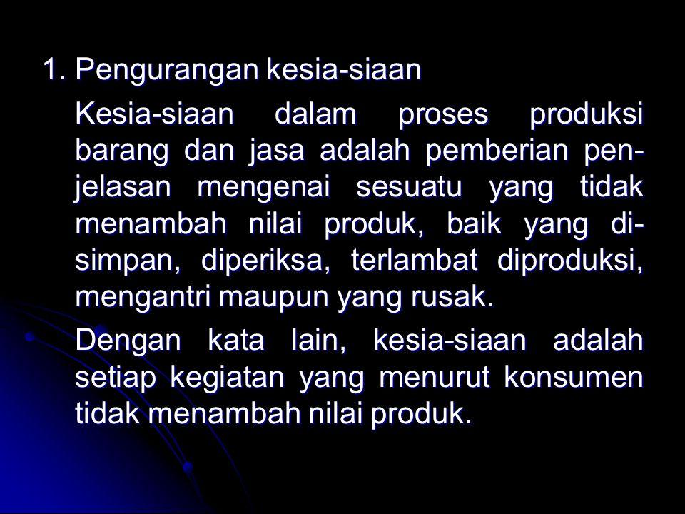 1. Pengurangan kesia-siaan Kesia-siaan dalam proses produksi barang dan jasa adalah pemberian pen- jelasan mengenai sesuatu yang tidak menambah nilai