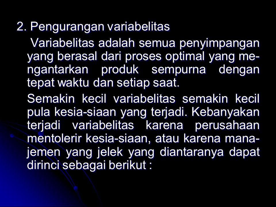 2. Pengurangan variabelitas Variabelitas adalah semua penyimpangan yang berasal dari proses optimal yang me- ngantarkan produk sempurna dengan tepat w