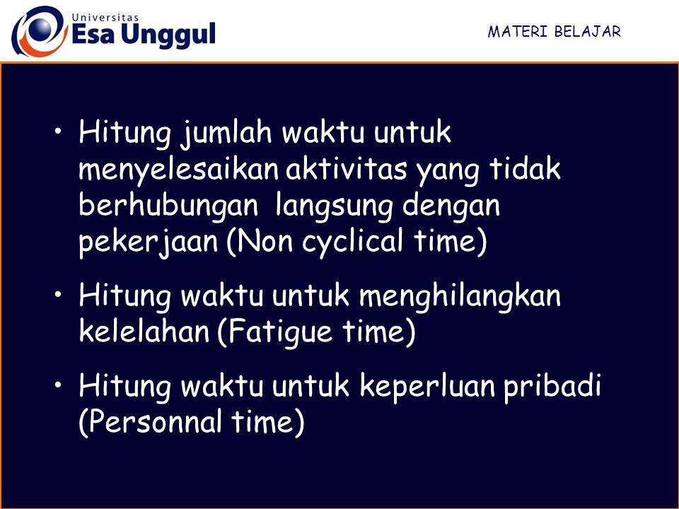 MATERI BELAJAR Hitung jumlah waktu untuk menyelesaikan aktivitas yang tidak berhubungan langsung dengan pekerjaan (Non cyclical time) Hitung waktu unt