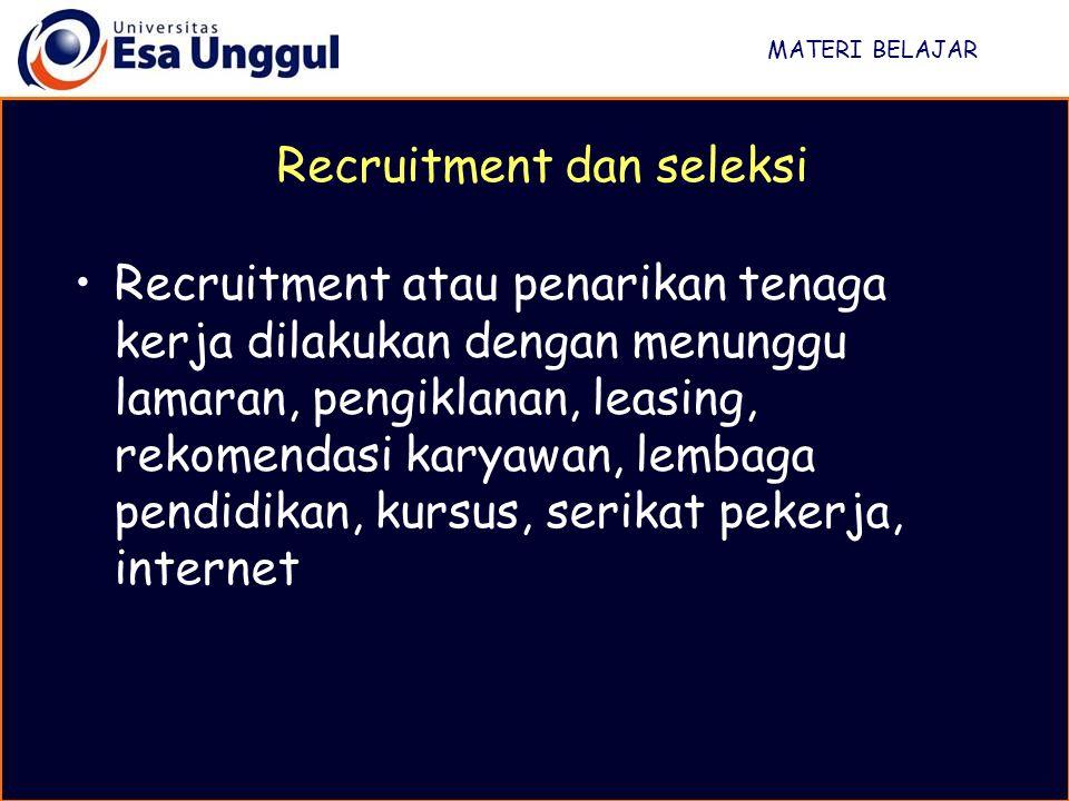 MATERI BELAJAR Recruitment atau penarikan tenaga kerja dilakukan dengan menunggu lamaran, pengiklanan, leasing, rekomendasi karyawan, lembaga pendidik