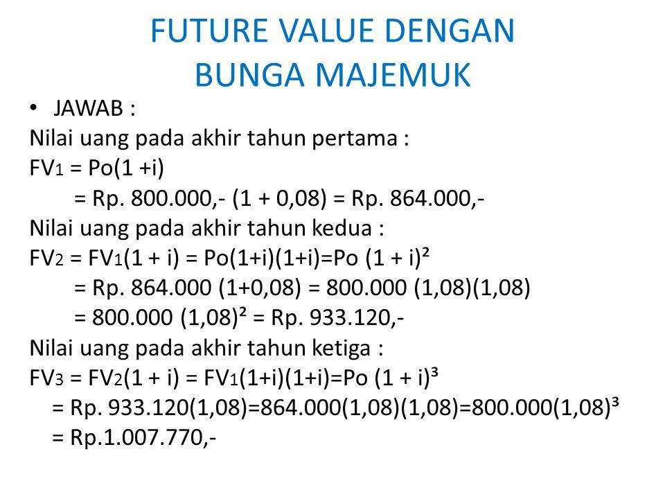 FUTURE VALUE DENGAN BUNGA MAJEMUK JAWAB : Nilai uang pada akhir tahun pertama : FV 1 = Po(1 +i) = Rp. 800.000,- (1 + 0,08) = Rp. 864.000,- Nilai uang