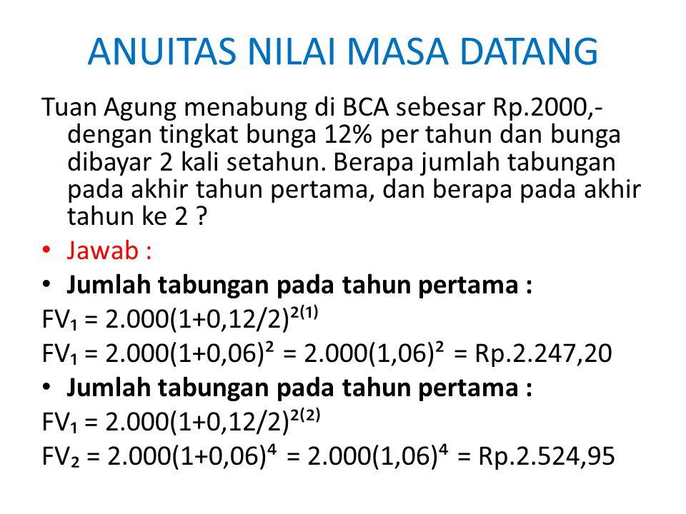 ANUITAS NILAI MASA DATANG Tuan Agung menabung di BCA sebesar Rp.2000,- dengan tingkat bunga 12% per tahun dan bunga dibayar 2 kali setahun. Berapa jum