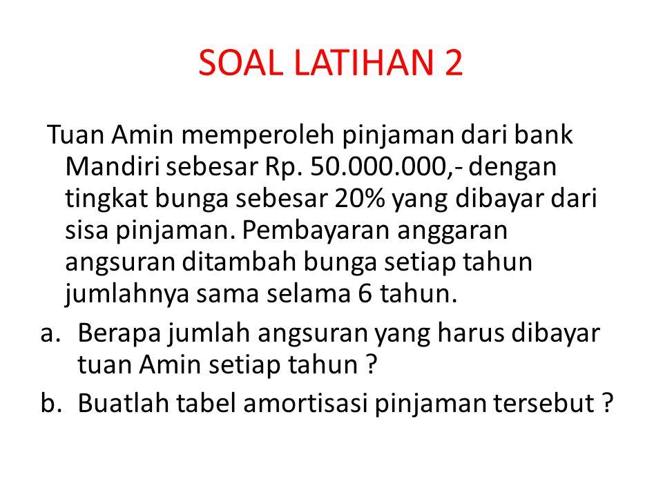 SOAL LATIHAN 2 Tuan Amin memperoleh pinjaman dari bank Mandiri sebesar Rp. 50.000.000,- dengan tingkat bunga sebesar 20% yang dibayar dari sisa pinjam