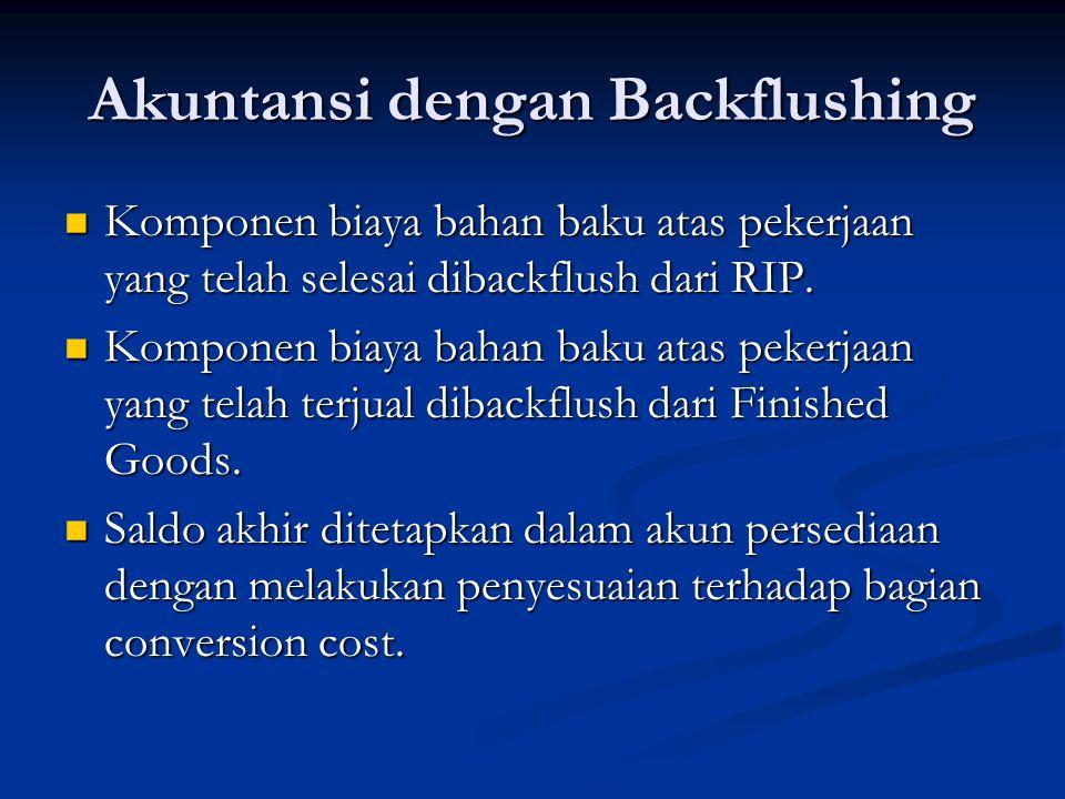 Akuntansi dengan Backflushing Komponen biaya bahan baku atas pekerjaan yang telah selesai dibackflush dari RIP.
