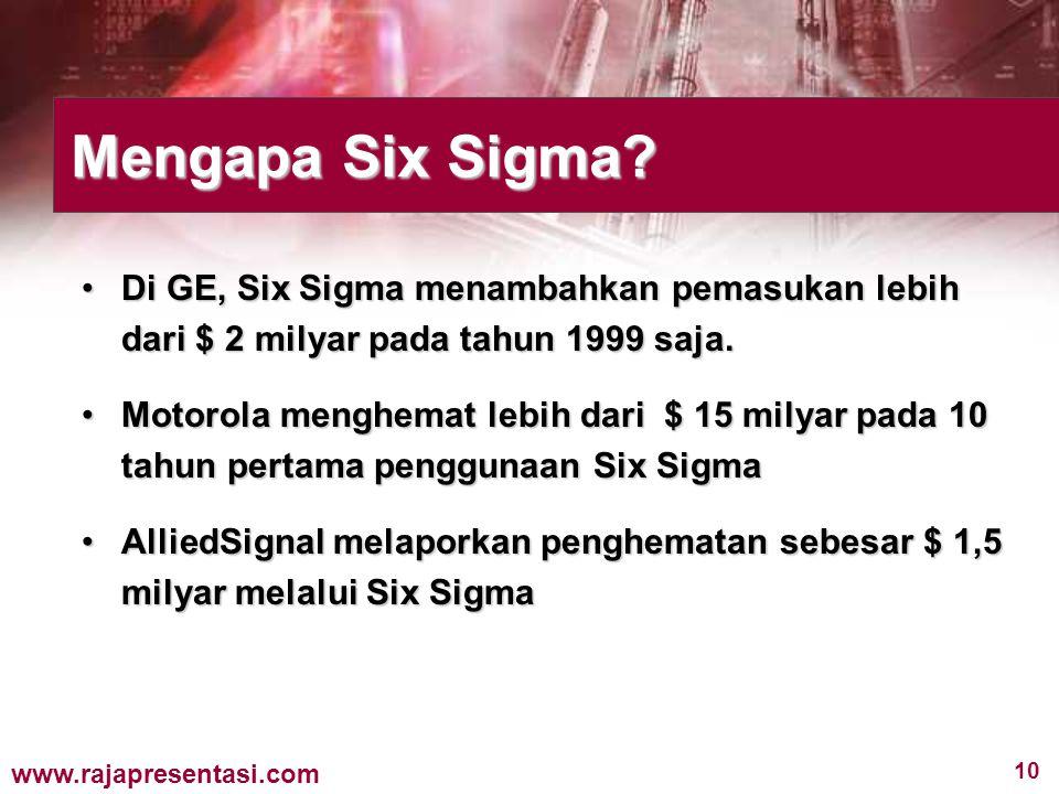 10 www.rajapresentasi.com Di GE, Six Sigma menambahkan pemasukan lebih dari $ 2 milyar pada tahun 1999 saja.Di GE, Six Sigma menambahkan pemasukan leb