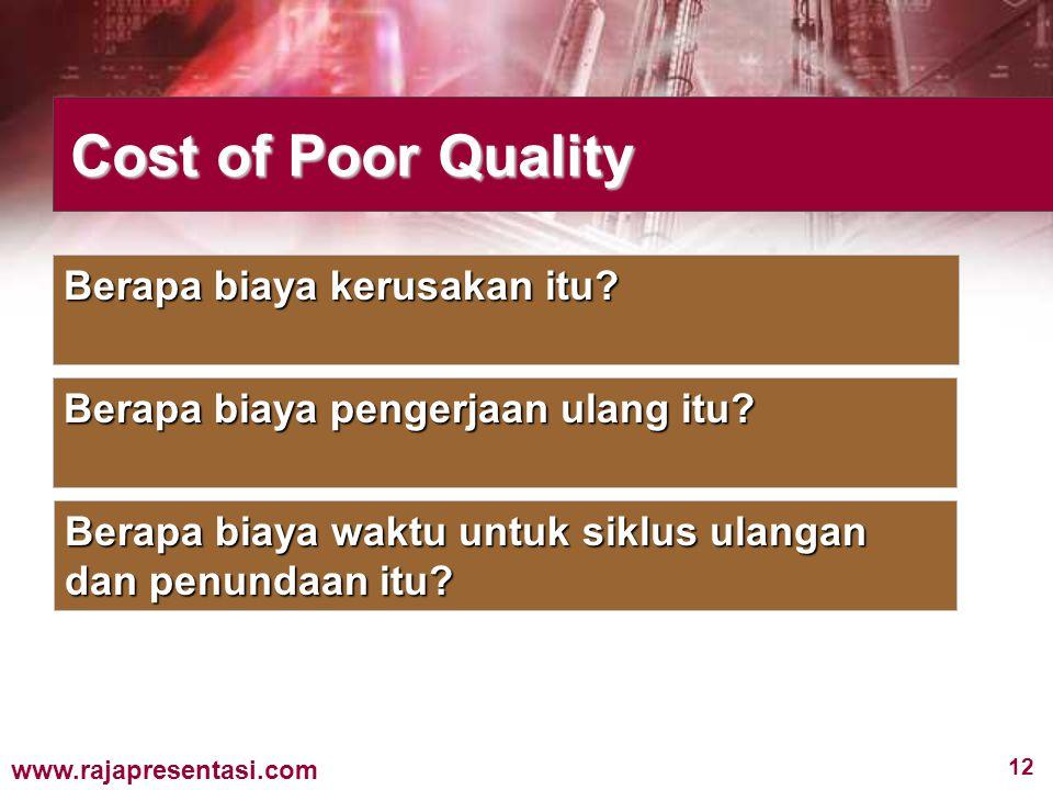 12 www.rajapresentasi.com Cost of Poor Quality Berapa biaya kerusakan itu? Berapa biaya pengerjaan ulang itu? Berapa biaya waktu untuk siklus ulangan