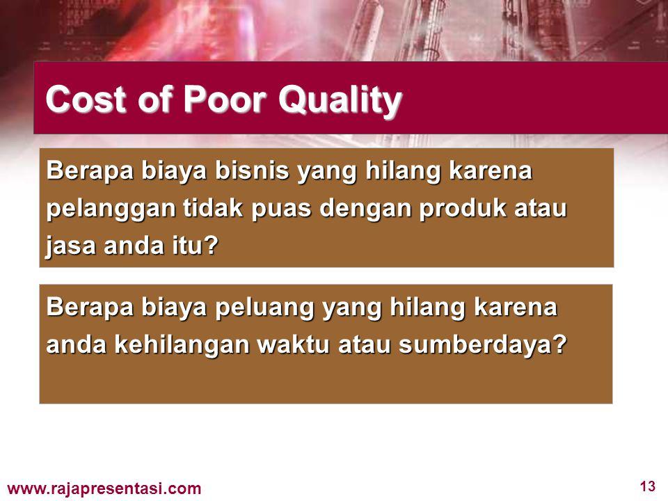 13 www.rajapresentasi.com Cost of Poor Quality Berapa biaya bisnis yang hilang karena pelanggan tidak puas dengan produk atau jasa anda itu? Berapa bi