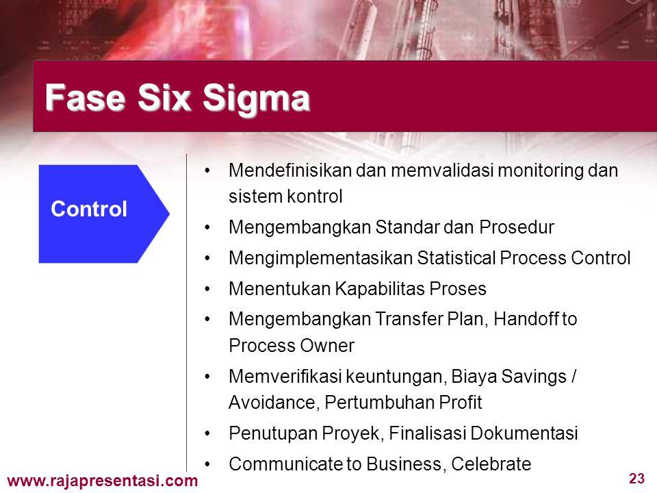 23 www.rajapresentasi.com Fase Six Sigma Control Mendefinisikan dan memvalidasi monitoring dan sistem kontrol Mengembangkan Standar dan Prosedur Mengi