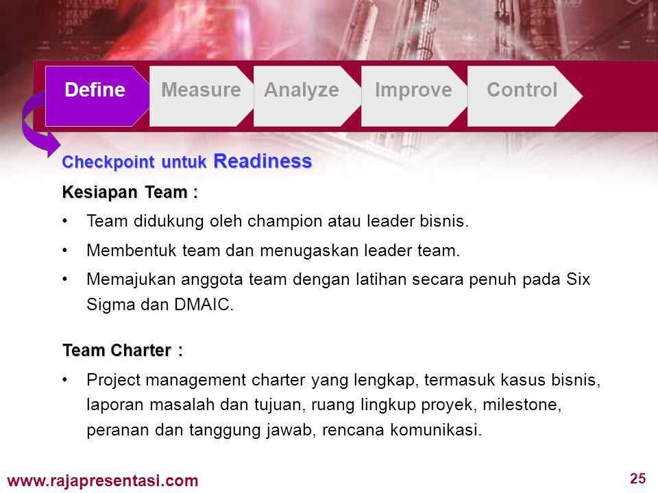 25 www.rajapresentasi.com Checkpoint untuk Readiness Kesiapan Team : Team didukung oleh champion atau leader bisnis. Membentuk team dan menugaskan lea