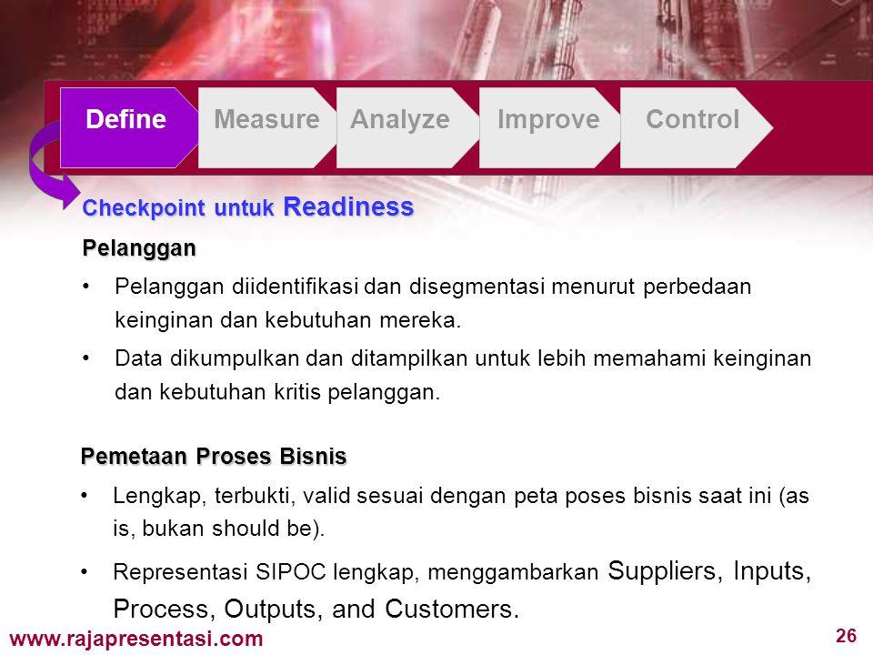 26 www.rajapresentasi.com DefineMeasureAnalyzeImproveControl Checkpoint untuk Readiness Pelanggan Pelanggan diidentifikasi dan disegmentasi menurut perbedaan keinginan dan kebutuhan mereka.