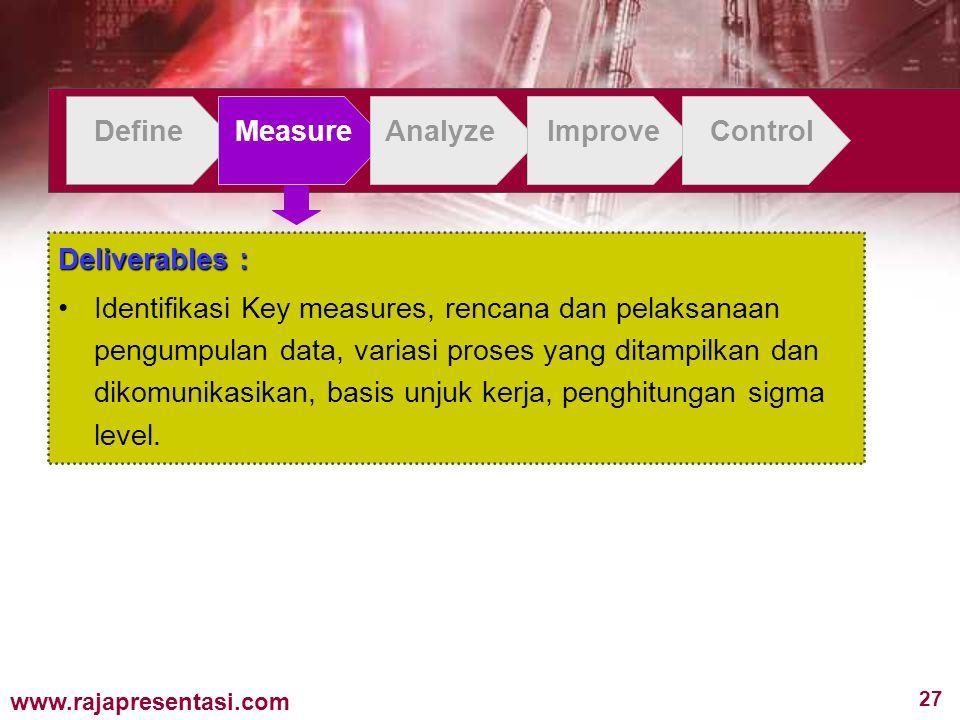 27 www.rajapresentasi.com DefineMeasureAnalyzeImproveControl Deliverables : Identifikasi Key measures, rencana dan pelaksanaan pengumpulan data, varia