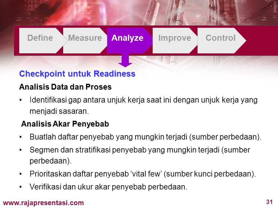 31 www.rajapresentasi.com DefineMeasureAnalyzeImproveControl Checkpoint untuk Readiness Analisis Data dan Proses Identifikasi gap antara unjuk kerja saat ini dengan unjuk kerja yang menjadi sasaran.