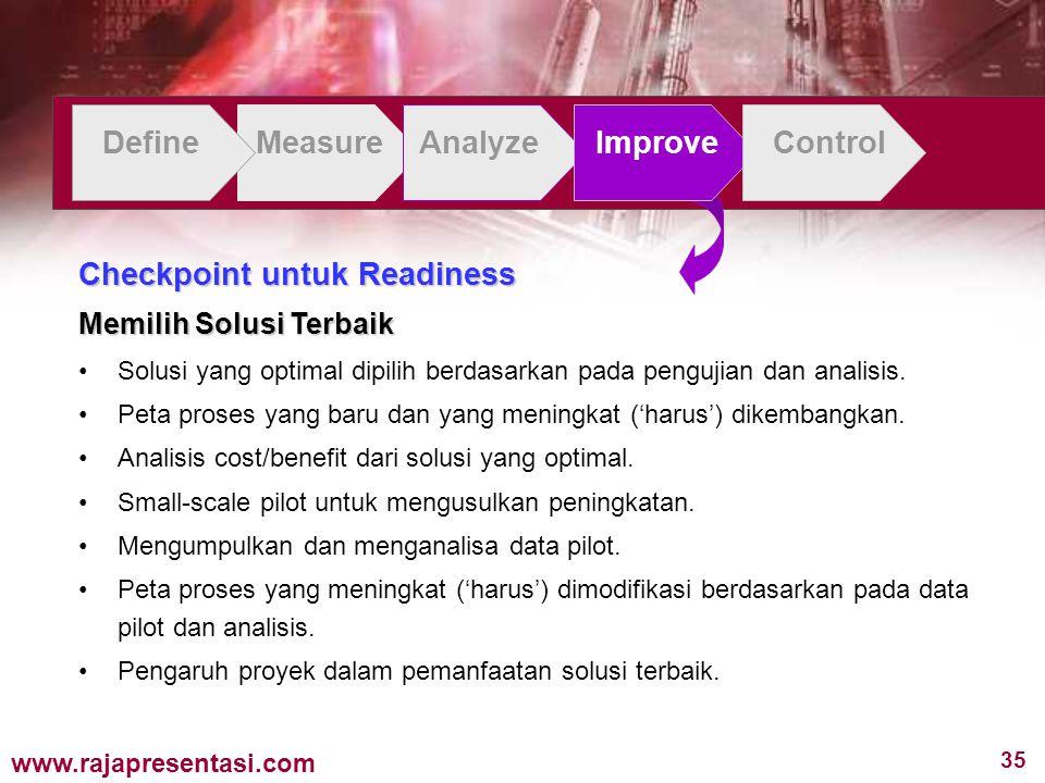 35 www.rajapresentasi.com DefineMeasureAnalyzeImproveControl Checkpoint untuk Readiness Memilih Solusi Terbaik Solusi yang optimal dipilih berdasarkan pada pengujian dan analisis.