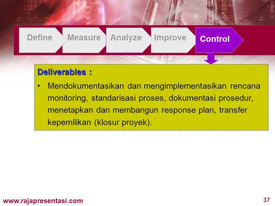 37 www.rajapresentasi.com DefineMeasureAnalyzeImprove Control Deliverables : Mendokumentasikan dan mengimplementasikan rencana monitoring, standarisasi proses, dokumentasi prosedur, menetapkan dan membangun response plan, transfer kepemilikan (klosur proyek).
