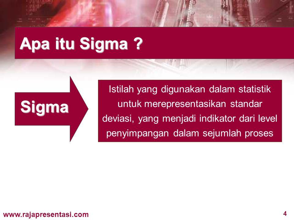 4 www.rajapresentasi.com Apa itu Sigma ? Sigma Istilah yang digunakan dalam statistik untuk merepresentasikan standar deviasi, yang menjadi indikator