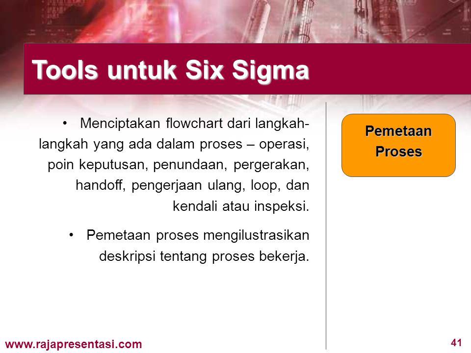 41 www.rajapresentasi.com Menciptakan flowchart dari langkah- langkah yang ada dalam proses – operasi, poin keputusan, penundaan, pergerakan, handoff,