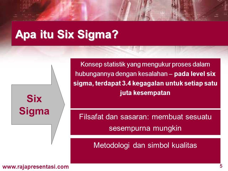 5 www.rajapresentasi.com Apa itu Six Sigma? Six Sigma Konsep statistik yang mengukur proses dalam hubungannya dengan kesalahan – pada level six sigma,