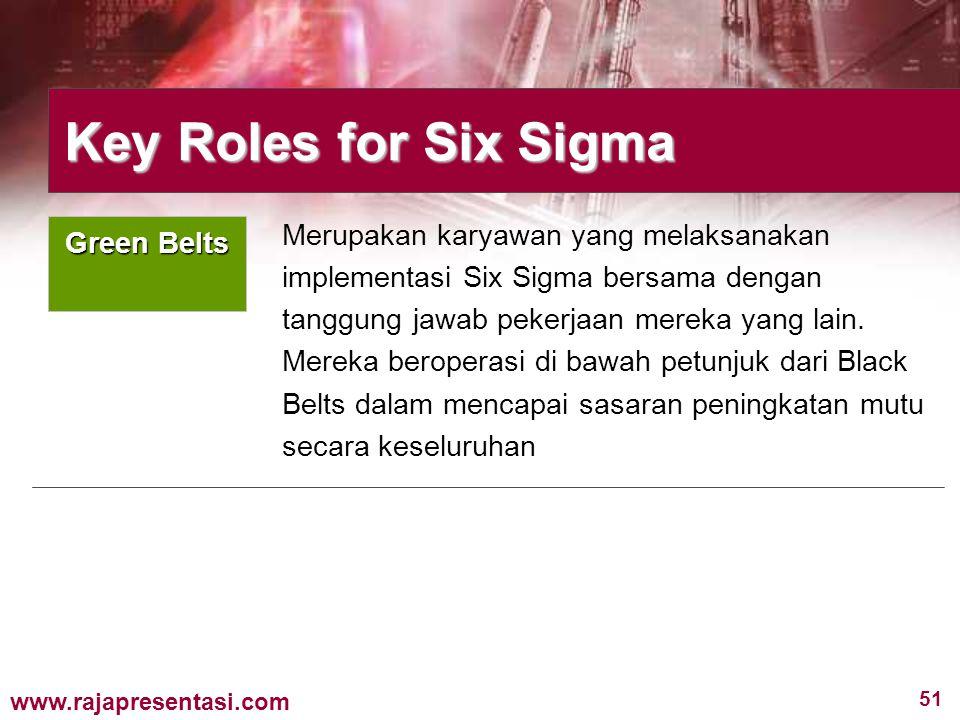 51 www.rajapresentasi.com Merupakan karyawan yang melaksanakan implementasi Six Sigma bersama dengan tanggung jawab pekerjaan mereka yang lain. Mereka