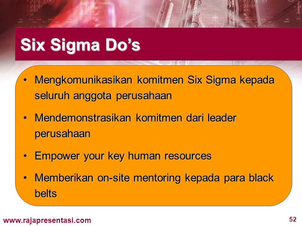 52 www.rajapresentasi.com Mengkomunikasikan komitmen Six Sigma kepada seluruh anggota perusahaanMengkomunikasikan komitmen Six Sigma kepada seluruh an