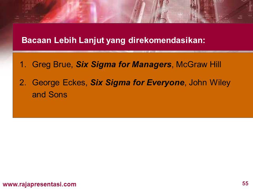 55 www.rajapresentasi.com Bacaan Lebih Lanjut yang direkomendasikan: 1.Greg Brue, Six Sigma for Managers, McGraw Hill 2.George Eckes, Six Sigma for Everyone, John Wiley and Sons