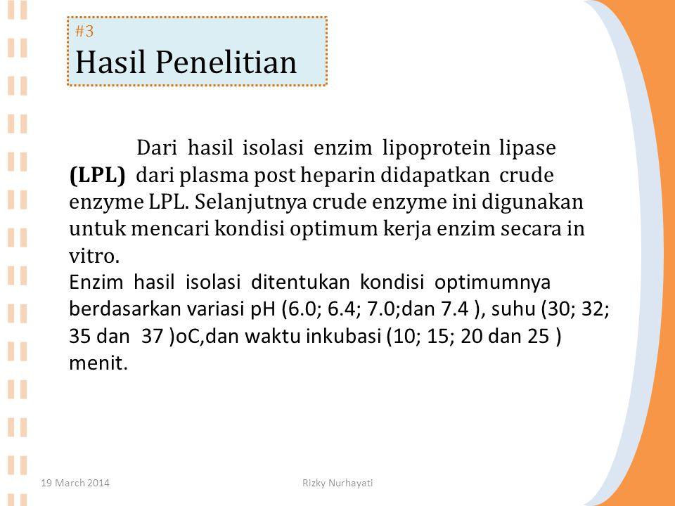 #3 Hasil Penelitian Dari hasil isolasi enzim lipoprotein lipase (LPL) dari plasma post heparin didapatkan crude enzyme LPL.
