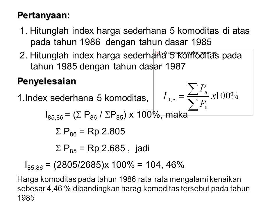 b) Index Agregatif ditimbang untuk Kuantitas 1.