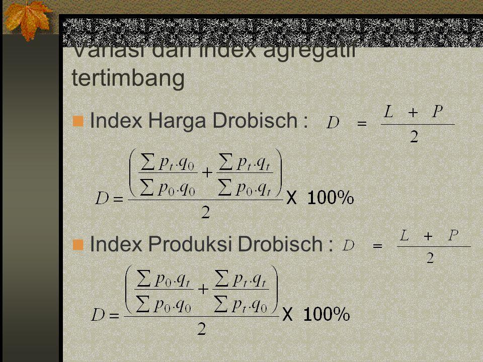 Variasi dari index agregatif tertimbang Index Harga Drobisch : Index Produksi Drobisch :