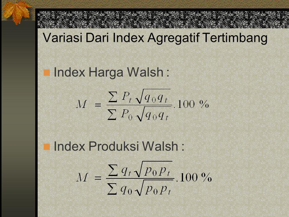 Variasi Dari Index Agregatif Tertimbang Index Harga Walsh : Index Produksi Walsh :