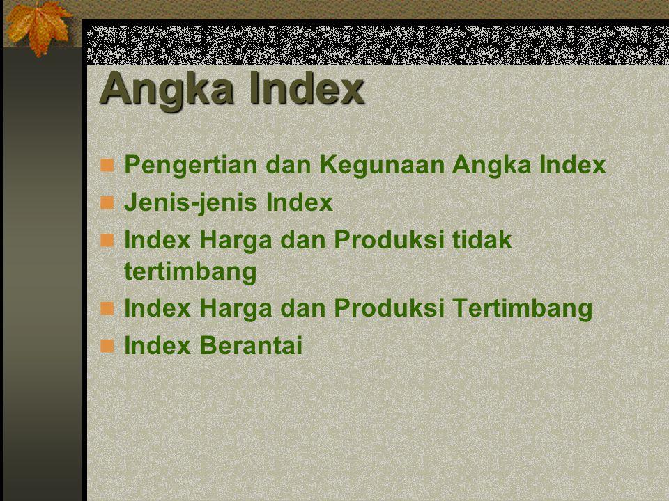Pengertian dan Kegunaan Angka Index Jenis-jenis Index Index Harga dan Produksi tidak tertimbang Index Harga dan Produksi Tertimbang Index Berantai
